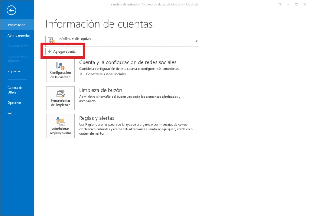 agregar recordatorio outlook 2013